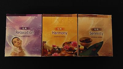 SPA Relaxation Harmony Serenity 3 Boxes of 10 = 30 GR Incense Cones Bulk ~ India