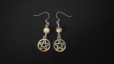 CELTIC EARRINGS Amethyst Gemstone Pentagram Pentacle [INNER PEACE / PROTECTION]