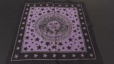 "18"" x 18"" SUN & MOON Purple Hippie Cotton Cloth HENNA ARTIST TOTE BAG ~ India"