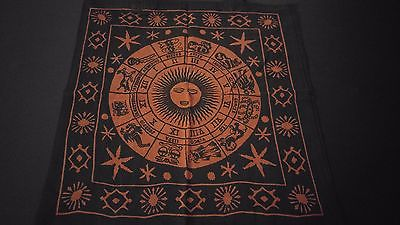 "18"" x 18"" ZODIAC Red Hippie Cotton Cloth HENNA ARTIST TOTE BAG ~ India"