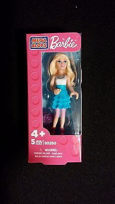 Barbie Mega Bloks Doll Blonde Hair White Top with Blue Skirt