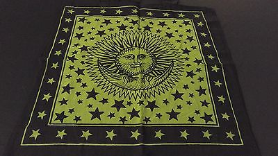 "18"" x 18"" SUN & MOON Green Hippie Cotton Cloth HENNA ARTIST TOTE BAG ~ India"