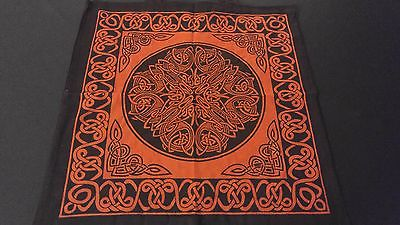 "18"" x 18"" CELTIC MANDALA Red Hippie Cotton Cloth HENNA ARTIST TOTE BAG ~ India"