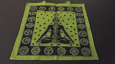"18"" x 18"" SEVEN CHAKRA Green Hippie Cotton Cloth HENNA ARTIST TOTE BAG ~ India"