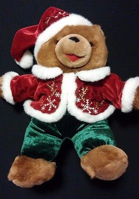 Santa Bear Stuffed Red Coat & Hat Clean Second Hand Used Toy MERRY CHRISTMAS