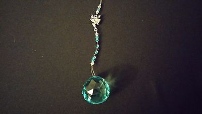 Wire Hanging Crystal Turquoise Beaded w/ Fairy Fairie Charm ~ India