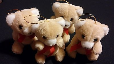 Lot of 4 Small Teddy Bear Ornaments - Good Condition Second Hand Toys