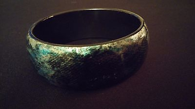 Thick Bangle For Petite Wrists w/ Faux Snake Skin Print