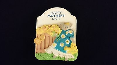 REFRIGERATOR MAGNET Mouse In Blue Dress Watering Sunflowers HAPPY MOTHERS DAY