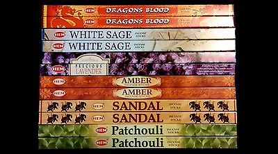 Dragons Blood White Sage Sandal Amber Patchouli Lavender 96 HEM Incense Sampler