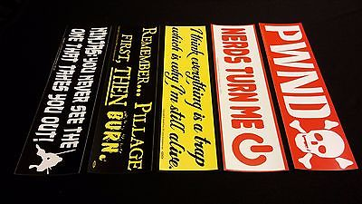 5 Pack Standard Size GAMER / GAMING / PWND Theme Bumper Stickers VINYL DECAL