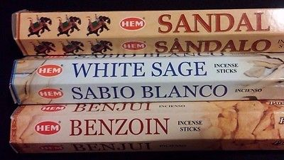 PURIFY Sandal White Sage Benzoin 60 HEM Incense Sticks 3 Scent Sampler Gift Set