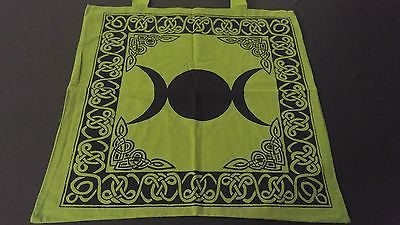 "18"" x 18"" TRIPLE MOON Green Hippie Cotton Cloth HENNA ARTIST TOTE BAG ~ India"