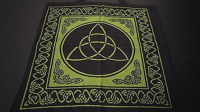 "18"" x 18"" CELTIC TRIQUETRA Green Hippie Cotton Cloth HENNA ARTIST TOTE BAG India"