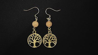 CELTIC EARRINGS Rose Quartz Gemstone Tree Of Life [SOOTHE HEARTACHE]