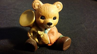 "Band Teddy Bear Porcelain Figurine ""Horn Bear"" HOMCO"