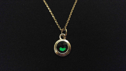 "GREEN STONE BEZEL Emerald Color High Quality 316 Stainless Steel 20"" Necklace"