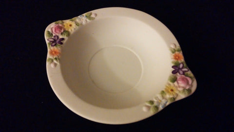 Vintage Lefton China KW3221 White Porcelain Ash Tray Antique Dish Painted Floral