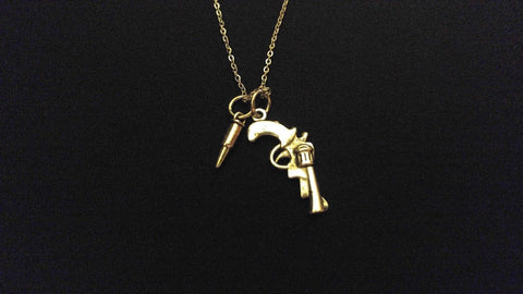 "GUN & BULLET Police Officer High Quality 316 Stainless Steel 20"" Necklace"