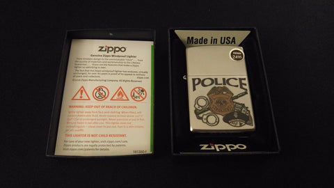 POLICE Classic Zippo Lighter Boxed Collectible Z279 Police Patrol Officer ~ USA