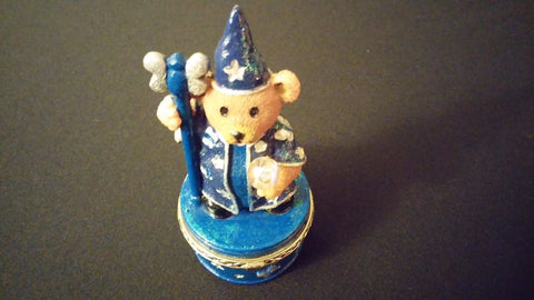 1999 Claire's Vintage Small Hinged Trinket Box -Magical Wizard Bear Crystal Ball
