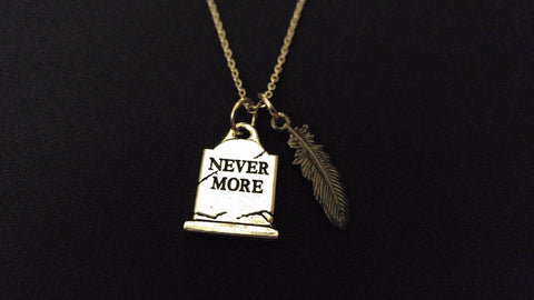 "RAVEN POE NEVERMORE BLACK FEATHER High Quality 316 Stainless Steel 20"" Necklace"