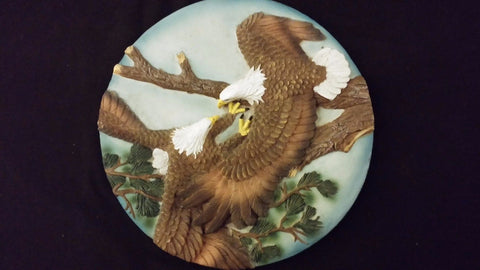 Small Resin Eagles Fighting High In A Tree 3D Sculpted Style Vintage Wall Plaque
