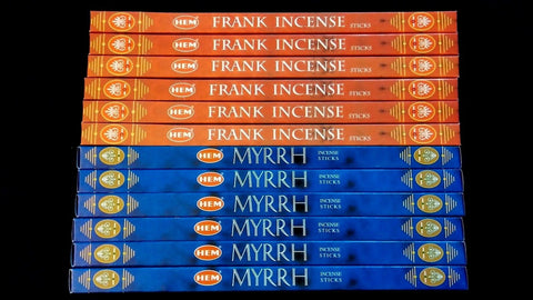 FRANKINCENSE & MYRRH 12 Boxes of 8 = 96 HEM Incense Sticks Sampler Gift Set