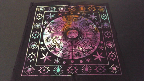 "18"" x 18"" ZODIAC Hippie Tie Dye Cotton Cloth HENNA ARTIST TOTE BAG ~ India"