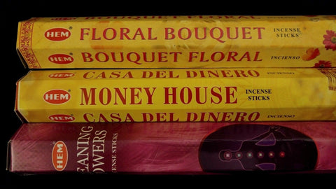 CLEANING POWERS Money House Floral Bouquet 60 HEM Incense Stick 3 Scent Gift Set