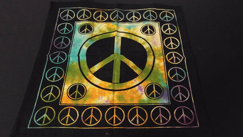"18"" x 18"" PEACE SIGN Hippie Tie Dye Cotton Cloth HENNA ARTIST TOTE BAG ~ India"