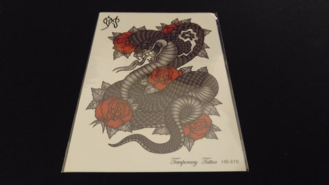 Gothic Series Cobra Snake Red Roses TEMPORARY HENNA TATTOO Waterproof Transfer