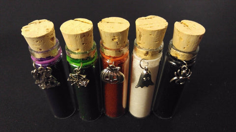 5pc HALLOWEEN Henna Tattoo Quality Fine Cosmetic Body Glitter Cork Bottle Set