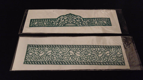 2pc Set HENNA TATTOO DESIGN STENCILS Sticky Back Reusable Green Band Styles Vary