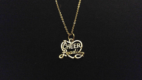 "I LOVE CHEERLEADING Cheerleader High Quality 316 Stainless Steel 20"" Necklace"