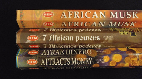 African Musk & Powers Attracts Money 60 HEM Incense Sticks 3 Scent Sampler Set
