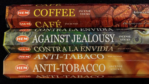 COFFEE Against Jealousy Anti-Tobacco 60 HEM Incense Sticks 3 Scent Sampler Set