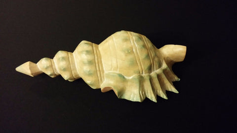 Seaside Wooden Pastel Painted Seashell Beach Theme Decorative Carved Piece