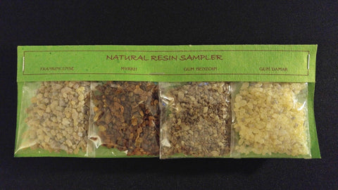 4pc Resin Incense Gift Set Frankincense Myrrh Benzoin Damar ~ India - GREEN PACK