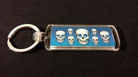 4D Blue Pirate Skulls Keychain Holographic Image Key Ring