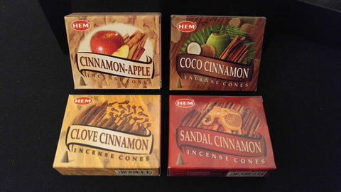 CINNAMON 4 Boxes of 10 = 40 HEM Incense Cones Fragrance Sampler Set ~ India