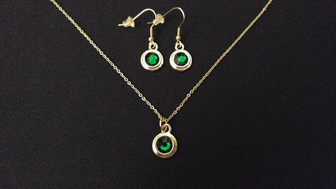"GREEN STONE BEZEL High Quality 316 Stainless Steel 20"" Necklace & Earring Set"