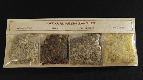 4pc Resin Incense Gift Set Frankincense Myrrh Benzoin Damar ~ India - TAN PACK