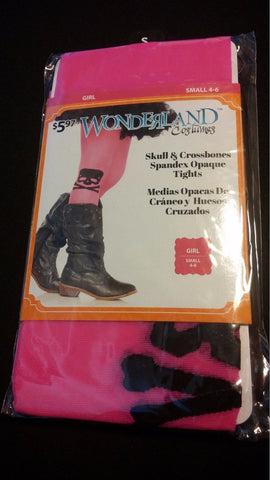 Girls Halloween Costume Accessory S Small 4-6 Hot Pink Skull Crossbones Socks