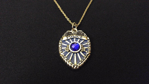 "BACK THE BLUE POLICE OFFICER BADGE High Quality 316 Stainless Steel 20"" Necklace"
