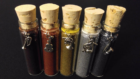 5pc METAL FOILS Henna Tattoo Quality Fine Cosmetic Body Glitter Cork Bottle Set