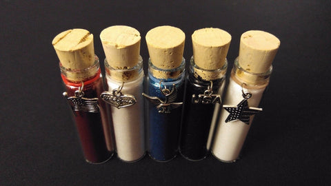 5pc USA PATRIOT Henna Tattoo Quality Fine Cosmetic Body Glitter Cork Bottle Set