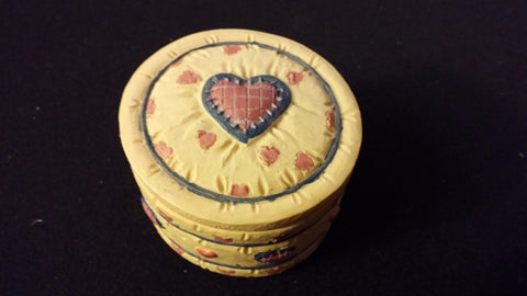 1993 Small Hand Painted Trinket Box DEZINE Carved Heart & Blue Design ~ China