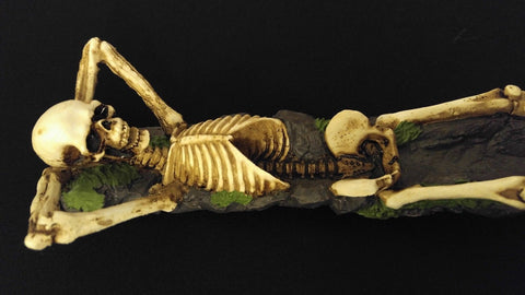"10"" Skeleton Reclining On Dirt Cold Cast Resin Ash Catcher Stick Incense Burner"