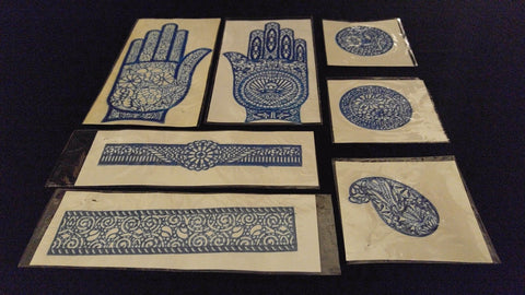 7pc Set HENNA TATTOO DESIGN STENCILS Sticky Back Reusable Hand Band Round Blue